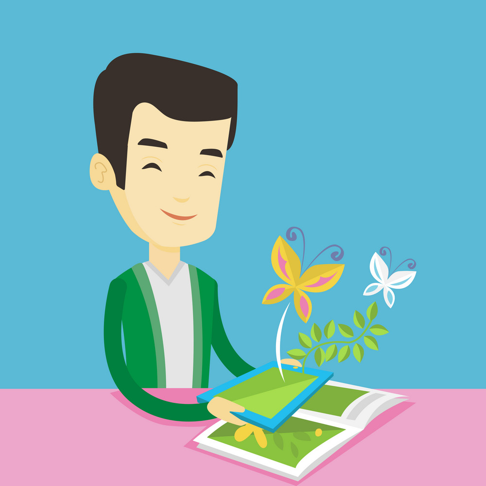 Young asian man holding tablet computer above the book. Happy man looking at butterflies flying out from digital tablet. Concept of agmented reality. Vector flat design illustration. Square layout.
