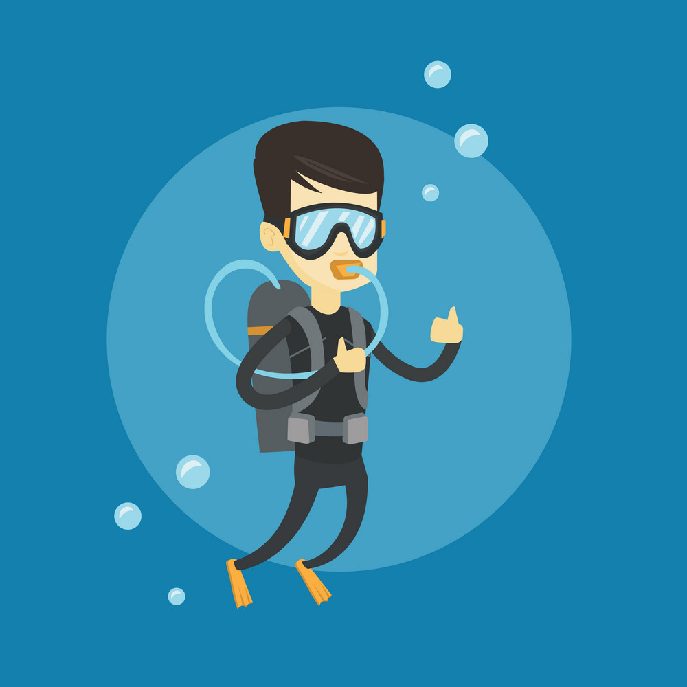 Young asian man in diving suit snorkeling and giving thumb up. Man diving with scuba and showing ok sign. Man enjoying the diving. Vector flat design illustration. Square layout.