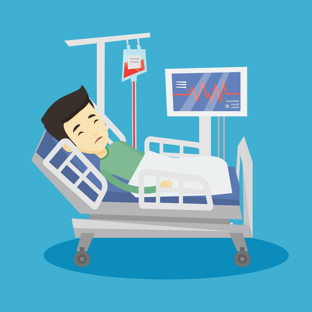 Young asian man lying in bed in hospital. Patient resting in hospital bed with heart rate monitor. Patient during blood transfusion procedure. Vector flat design illustration. Square layout.