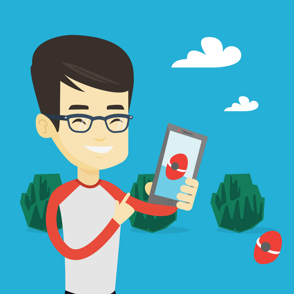 Young asian man playing action game on smartphone. Smiling man playing with his mobile phone outdoor. Man using smartphone for playing action game. Vector flat design illustration. Square layout.