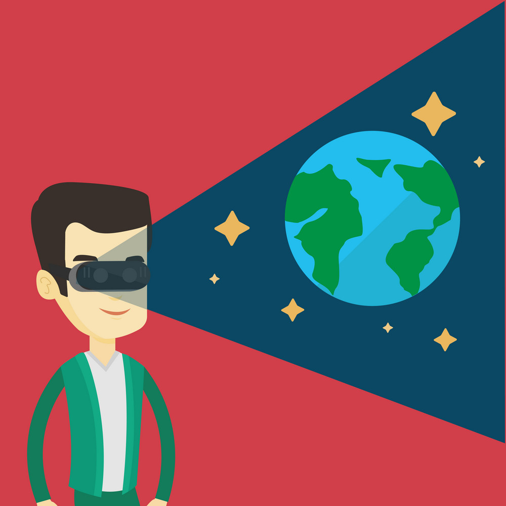 Young asian man playing virtual game. Happy gamer wearing futuristic virtual reality headset and looking at open space with earth model and stars. Vector flat design illustration. Square layout.