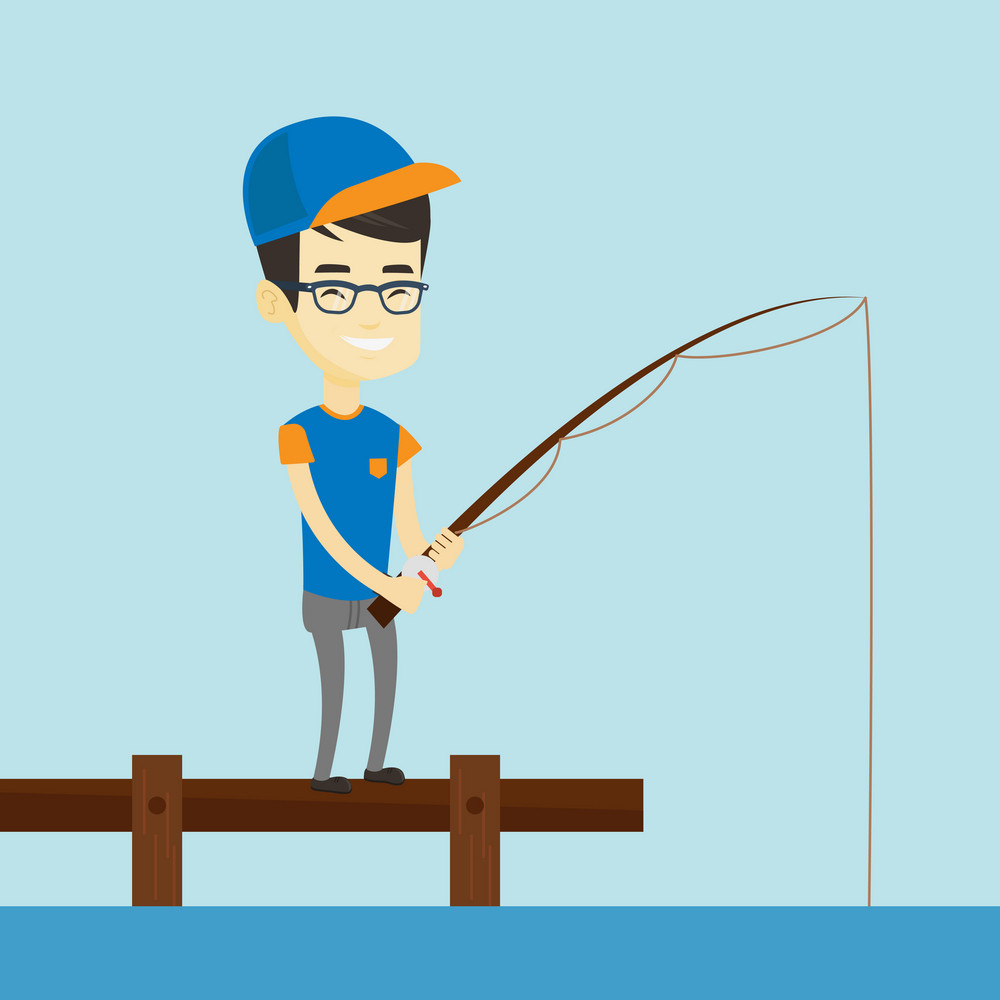 Young asian man relaxing during fishing on jetty. Cheerful fisherman fishing on the lake. Smiling angler standing on jetty with fishing-rod in hands. Vector flat design illustration. Square layout.