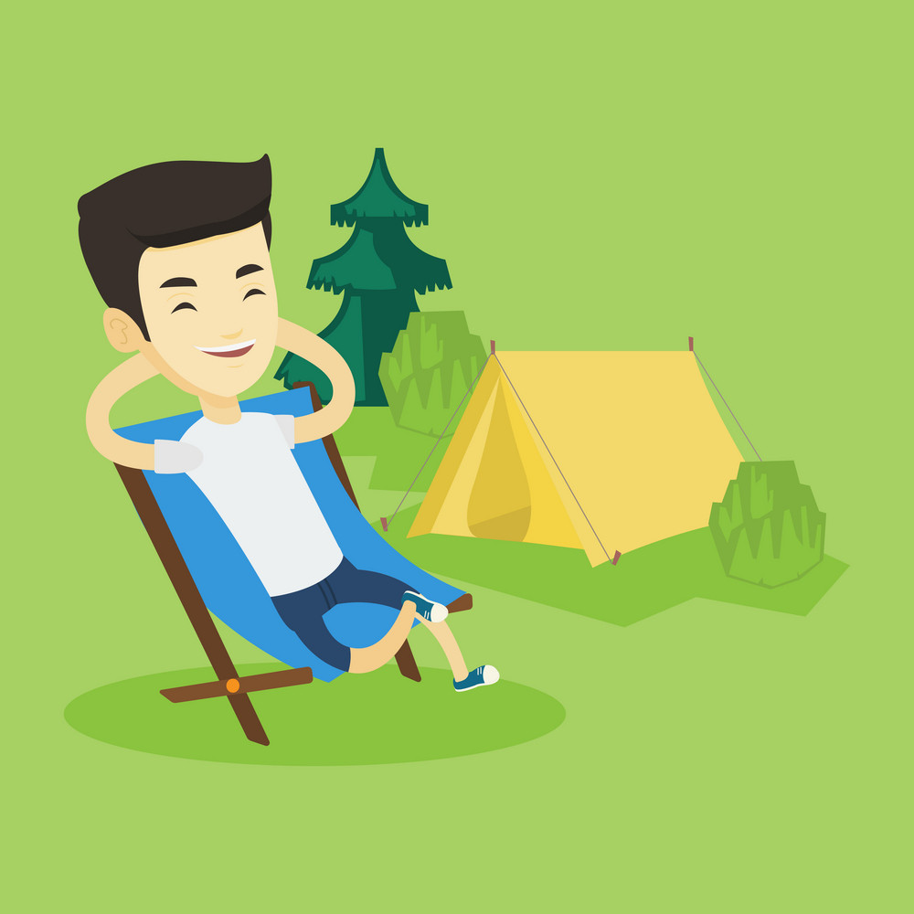 Young asian man relaxing in camping. Smiling man sitting in chair on the background of camping site. Relaxed man enjoying his vacation in camping. Vector flat design illustration. Square layout.
