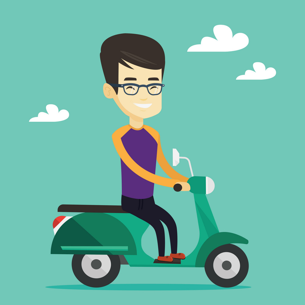 Young asian man riding a scooter outdoor. Smiling man traveling on a scooter. Happy man enjoying his trip on a scooter. Vector flat design illustration. Square layout.