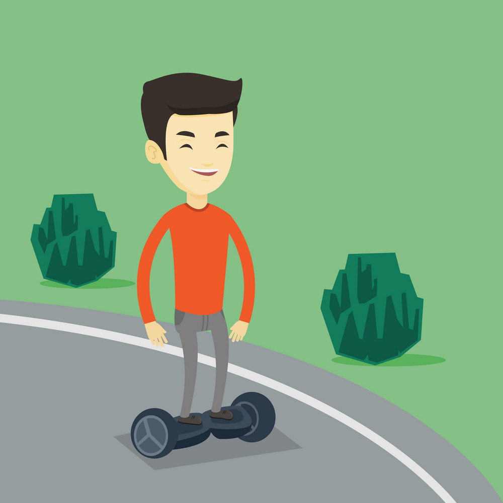 Young asian man riding on self-balancing electric scooter in the park. Cheerful man riding on gyroscooter outdoor. Man standing on gyroboard outdoor. Vector flat design illustration. Square layout.