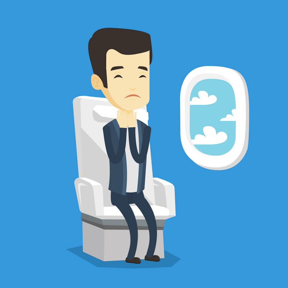 Young asian man shocked by plane flight in a turbulent area. Airplane passenger frightened by flight. Terrified passenger sitting in airplane seat. Vector flat design illustration. Square layout.