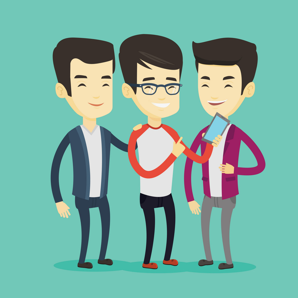 Young asian man showing something to his friends on his smartphone. Three happy friends looking at smartphone and laughing. Man using smartphone. Vector flat design illustration. Square layout.