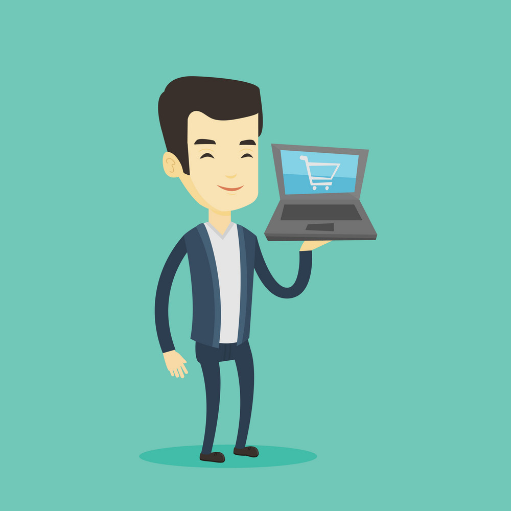 Young asian man using laptop for online shopping. Smiling customer holding laptop with shopping trolley on a screen. Happy man doing online shopping. Vector flat design illustration. Square layout.
