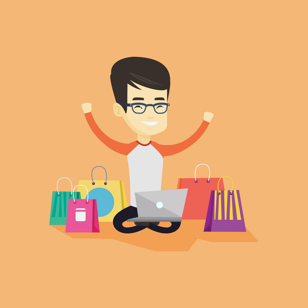 Young asian man with hands up using laptop for shopping online. Happy customer sitting with shopping bags around him. Cheerful man doing online shopping. Vector flat design illustration. Square layout