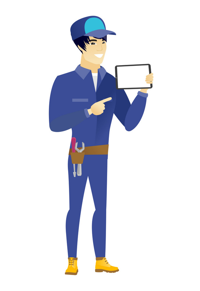 Young asian mechanic holding tablet computer. Full length of mechanic pointing at tablet computer. Mechanic with tablet computer. Vector flat design illustration isolated on white background.