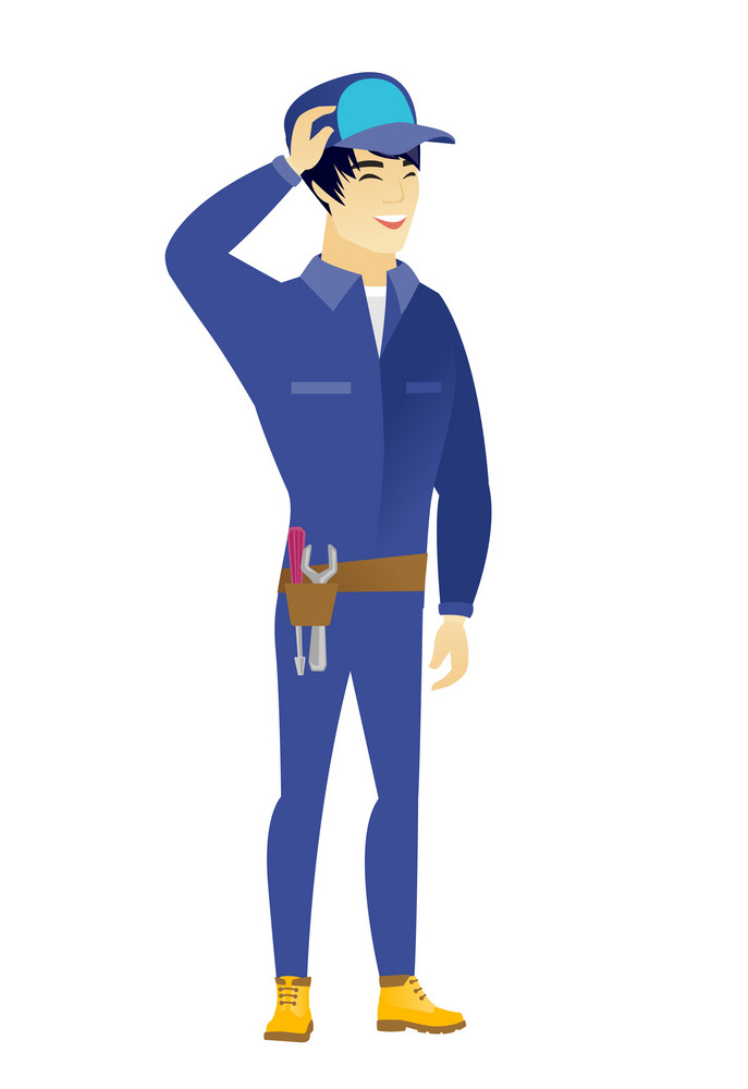 Young asian mechanic laughing. Mechanic laughing with hands on his head. Mechanic laughing with closed eyes and open mouth. Vector flat design illustration isolated on white background.