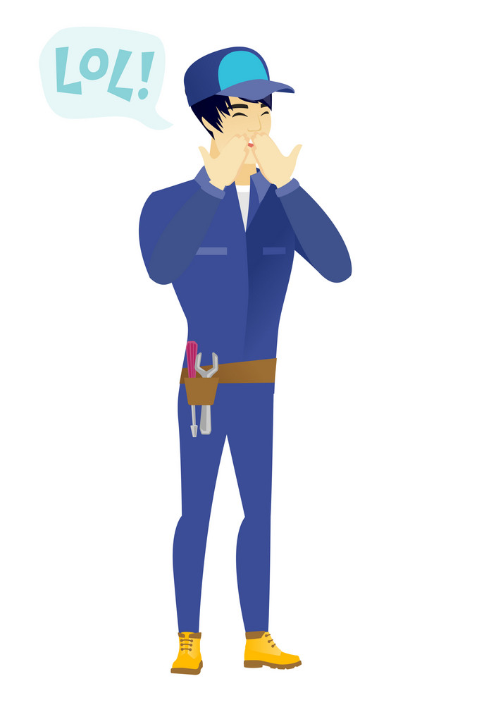 Young asian mechanic laughing out loud. Mechanic and speech bubble with text - lol. Mechanic laughing out loud and covering his mouth. Vector flat design illustration isolated on white background.