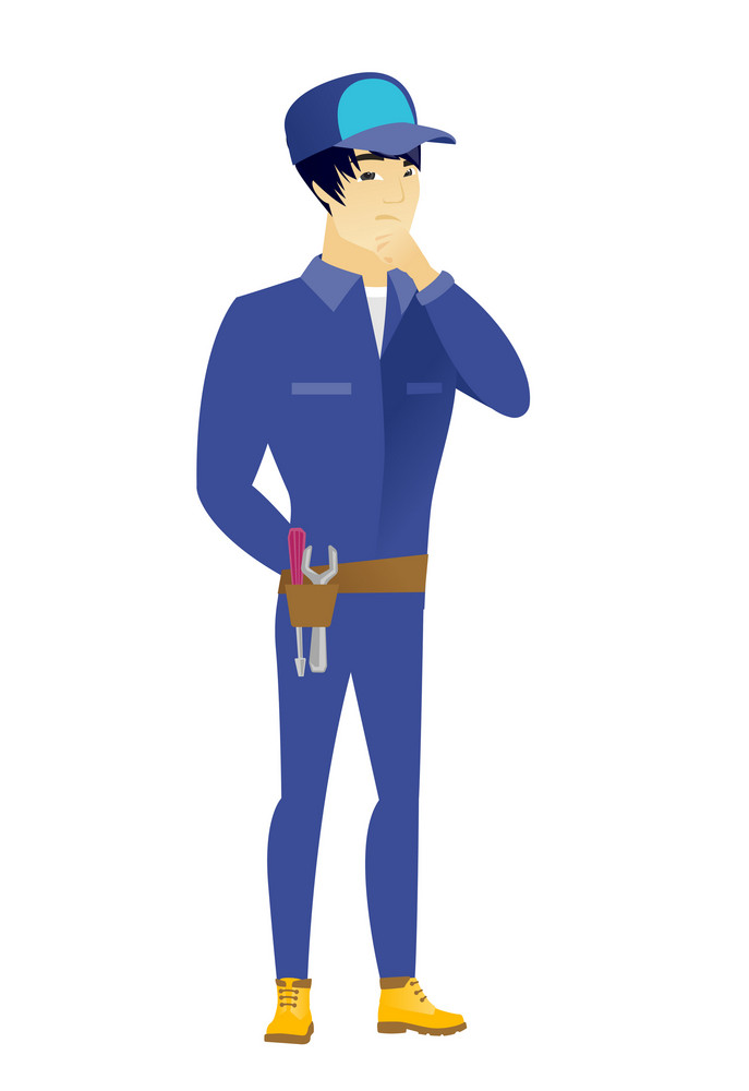 Young asian mechanic thinking. Full length of thinking mechanic with hand on chin. Mechanic thinking and looking to the side. Vector flat design illustration isolated on white background.