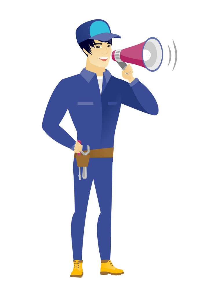 Young asian mechanic with a loudspeaker making an announcement. Full length of mechanic making an announcement through a loudspeaker. Vector flat design illustration isolated on white background.