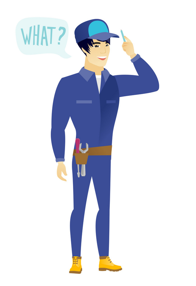 Young asian mechanic with question what in speech bubble. Full length of smiling mechanic with text what in speech bubble. Vector flat design illustration isolated on white background.