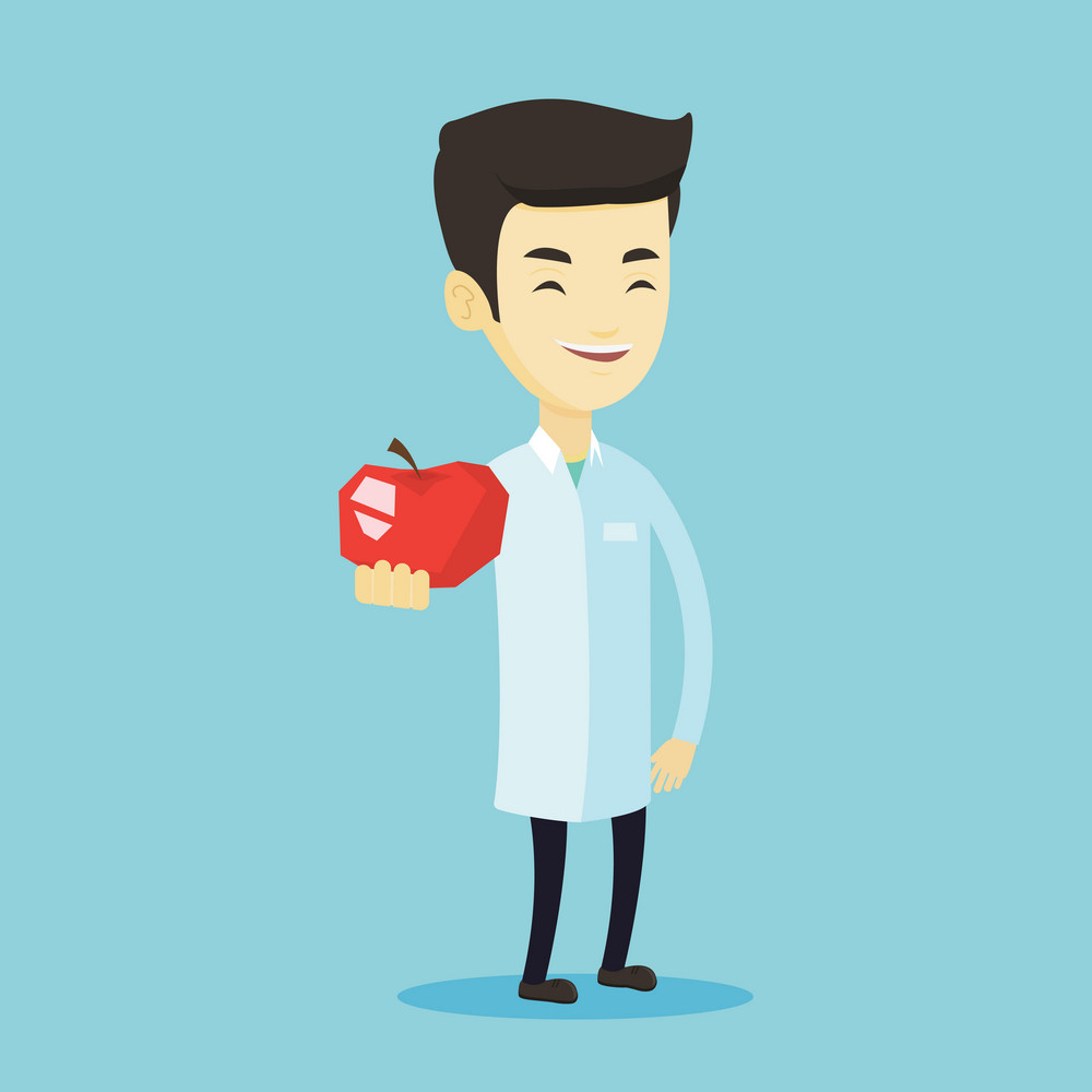 Young asian nutritionist prescribing diet and healthy eating. Smiling confident nutritionist holding an apple. Nutritionist offering fresh red apple. Vector flat design illustration. Square layout.