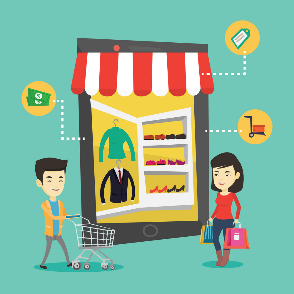 Young asian people doing online shopping. Smiling people using mobile shopping. Happy people walking in the store that looks like tablet computer. Vector flat design illustration. Square layout.
