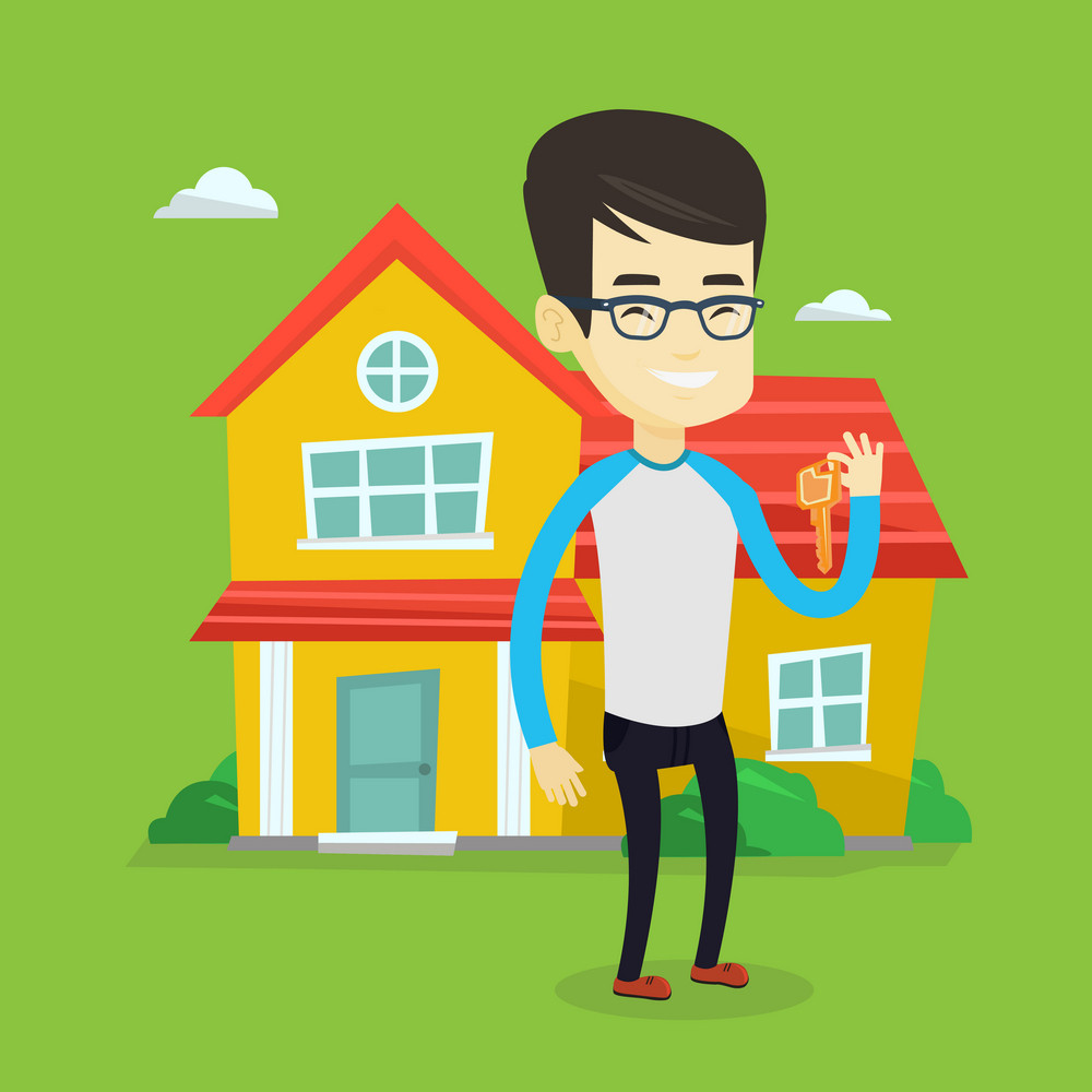 Young asian real estate agent holding keys. Smiling real estate agent with keys standing on the background of house. Happy new owner with house keys. Vector flat design illustration. Square layout.
