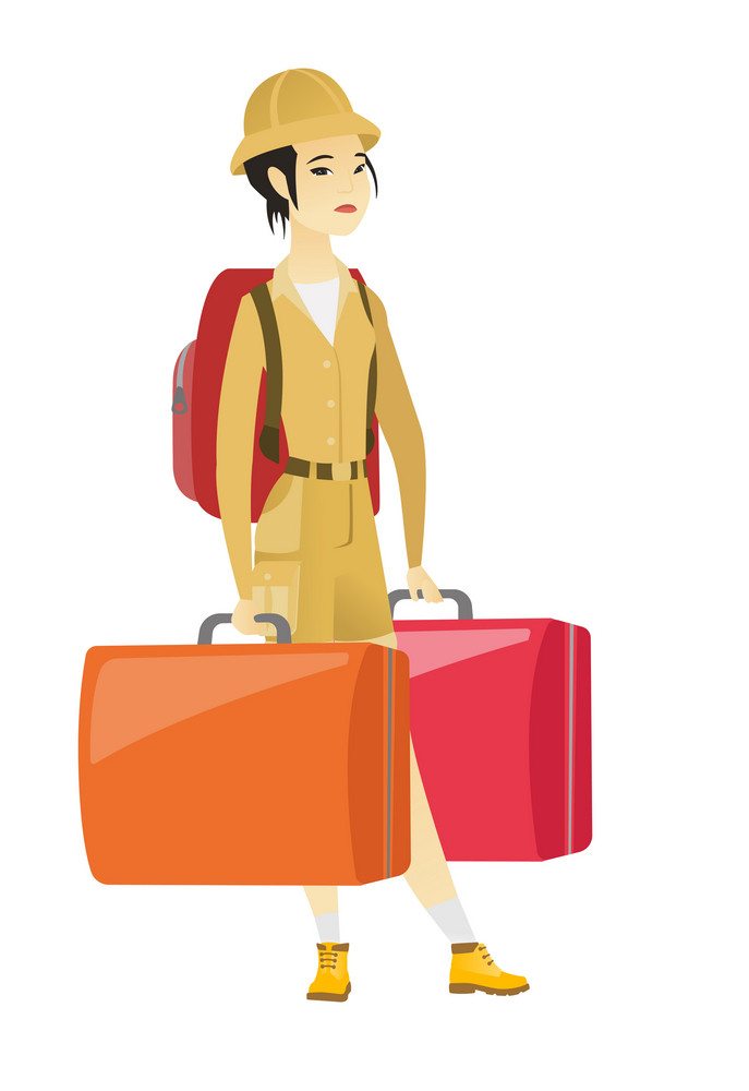 Young asian sad female tourist carrying heavy suitcases. Full length of disappointed female tourist holding two big vintage suitcases. Vector flat design illustration isolated on white background.