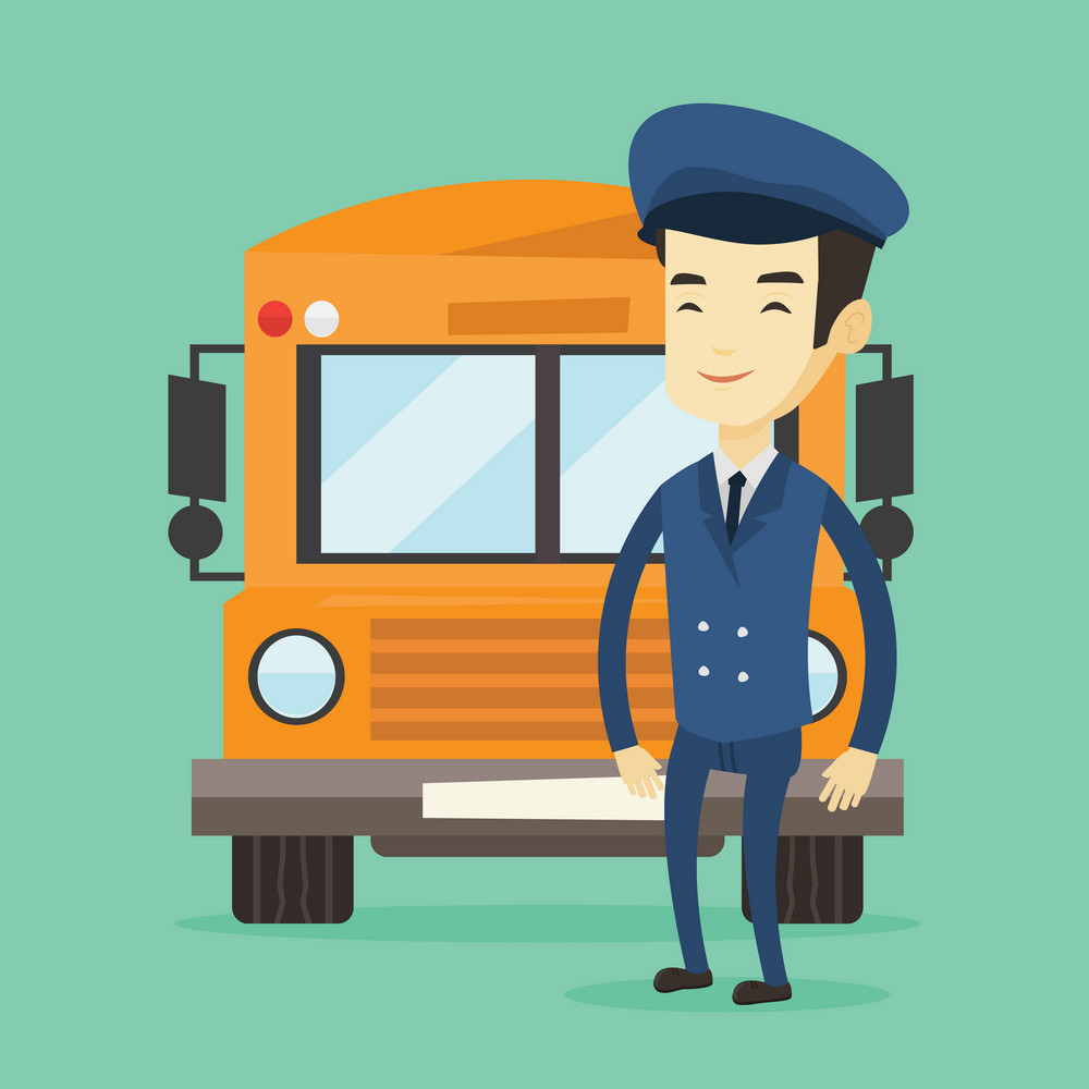 Young asian school bus driver standing in front of yellow bus. Smiling school bus driver in uniform. Cheerful school bus driver. Vector flat design illustration. Square layout.