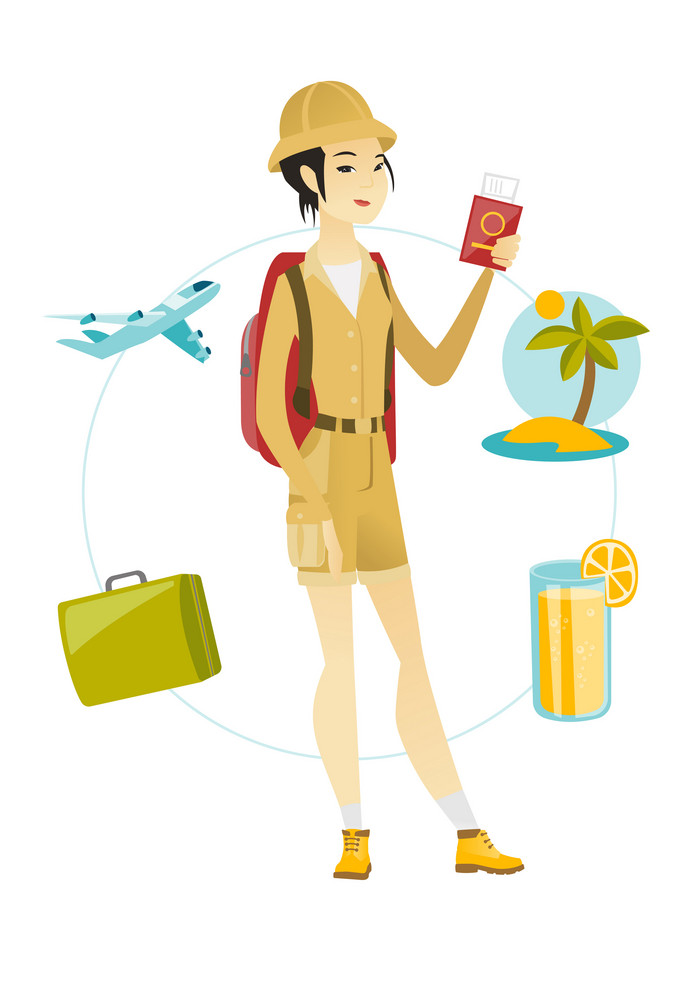 Young asian smiling woman traveler holding passport with ticket on airplane. Happy woman traveler holding passport and ticket on holiday. Vector flat design illustration isolated on white background.