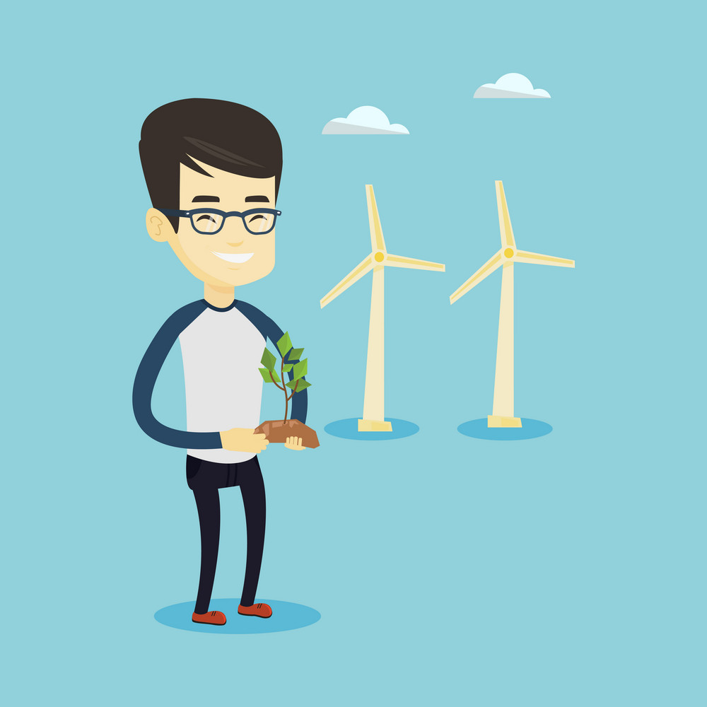 Young asian smiling worker of wind farm. Man holding in hands green small plant in soil on the background of wind turbines. Concept of green energy. Vector flat design illustration. Square layout.