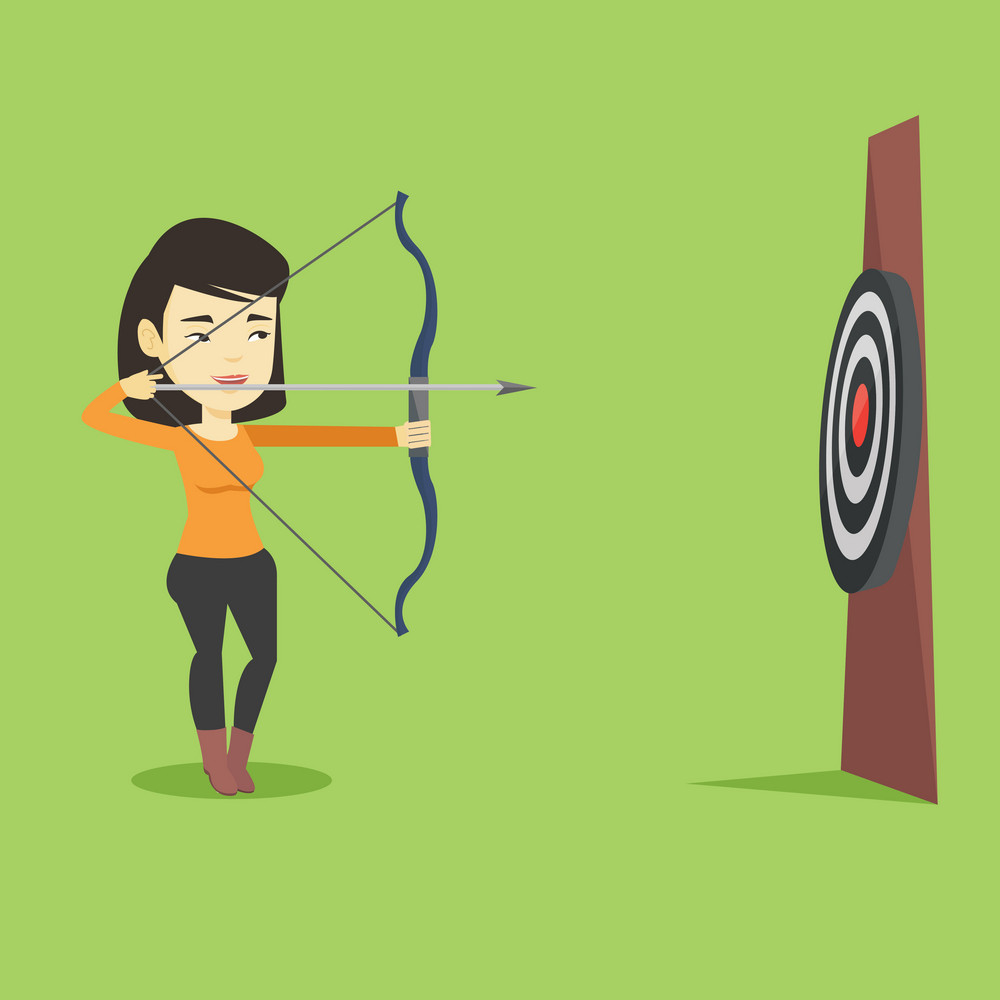 Young asian sportswoman practicing in archery. Sportive woman training with the bow. Archery player aiming with a bow in hands. Vector flat design illustration. Square layout.
