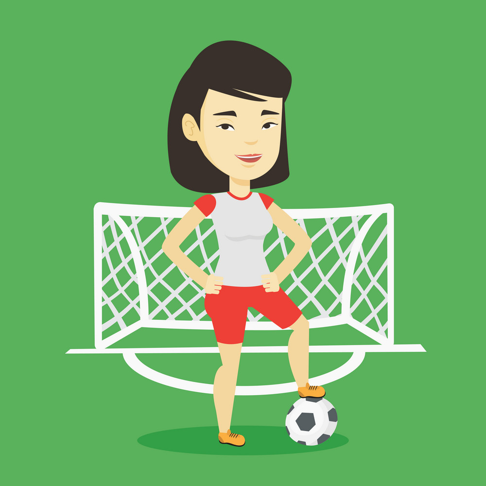 Young asian sportswoman standing with football ball on the football stadium. Happy professional football player standing with a soccer ball on the field. Vector flat design illustration. Square layout