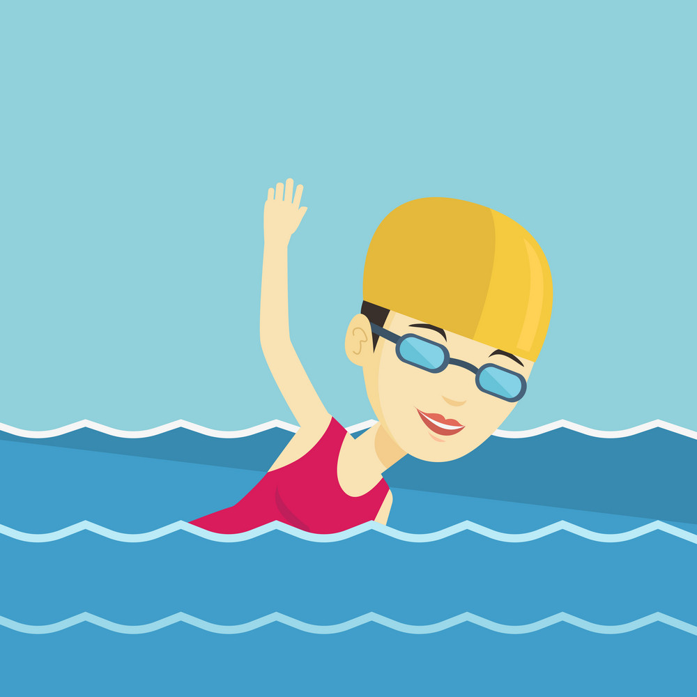 Young asian sportswoman wearing cap and glasses swimming in pool. Professional female swimmer in swimming pool. Sportswoman swimming forward crawl style. Vector flat design illustration. Square layout