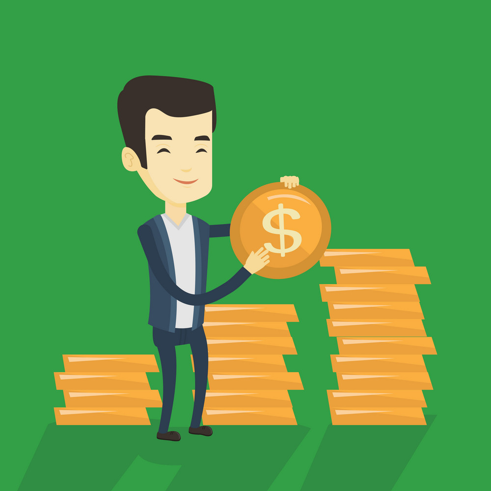 Young asian successful business man standing with dollar golden coin in hands. Successful business man holding golden coin. Business success concept. Vector flat design illustration. Square layout.