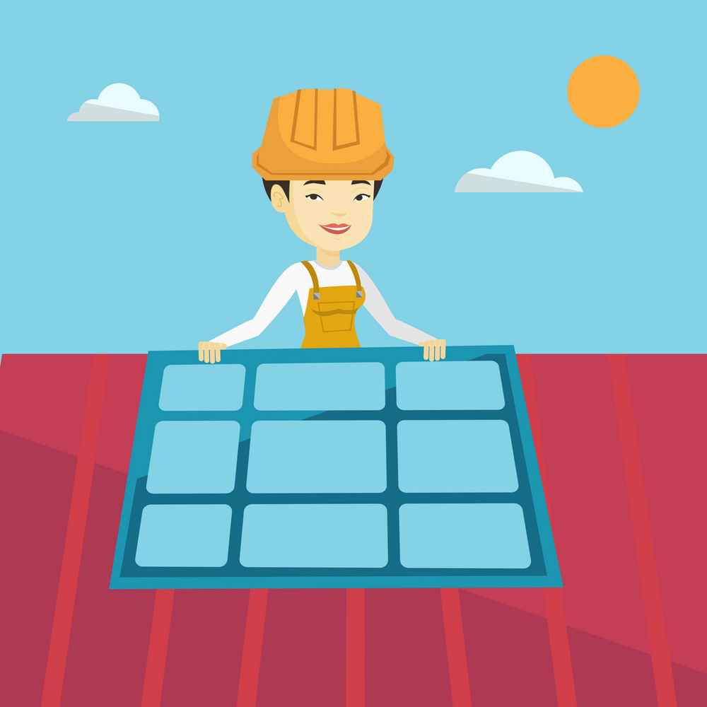 Young asian technician installing solar panels on roof. Technician in uniform and hard hat checking solar panel on roof. Engineer adjusting solar panel. Vector flat design illustration. Square layout.