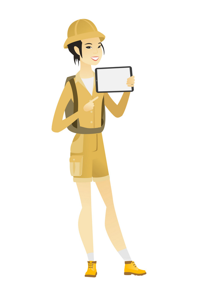 Young asian traveler holding tablet computer. Full length of female traveler pointing at tablet computer. Traveler with tablet computer. Vector flat design illustration isolated on white background.