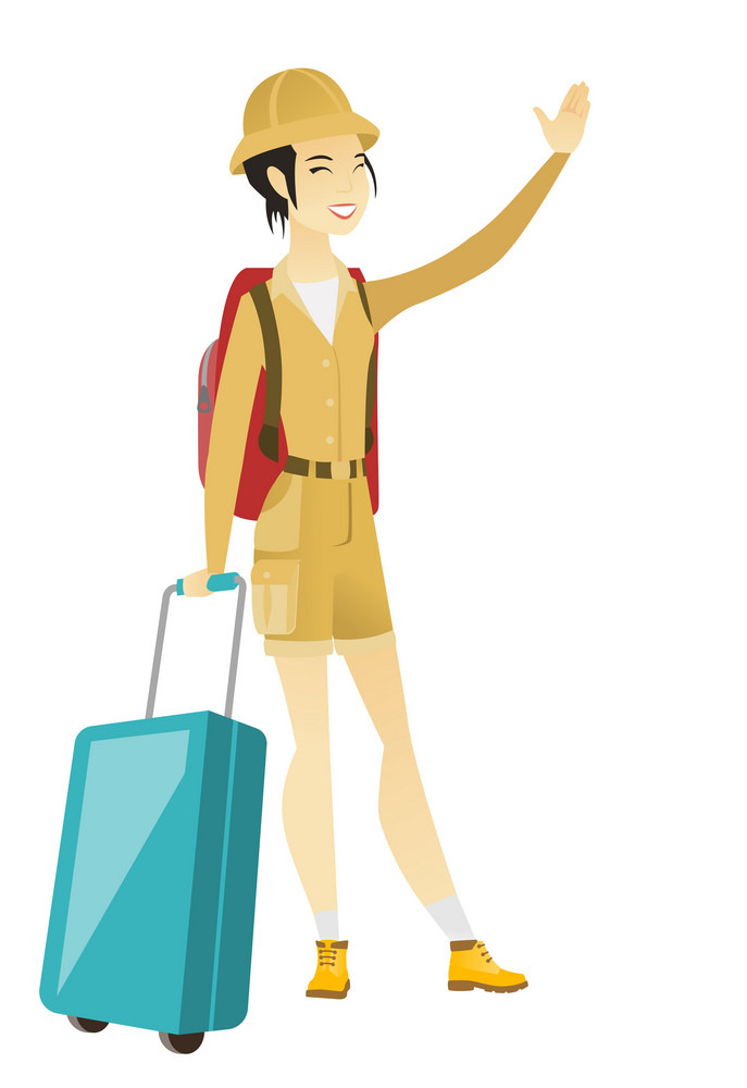 Young asian traveler waving hand. Full length of traveler holding suitcase and waving hand. Traveler making greeting gesture - waving hand. Vector flat design illustration isolated on white background