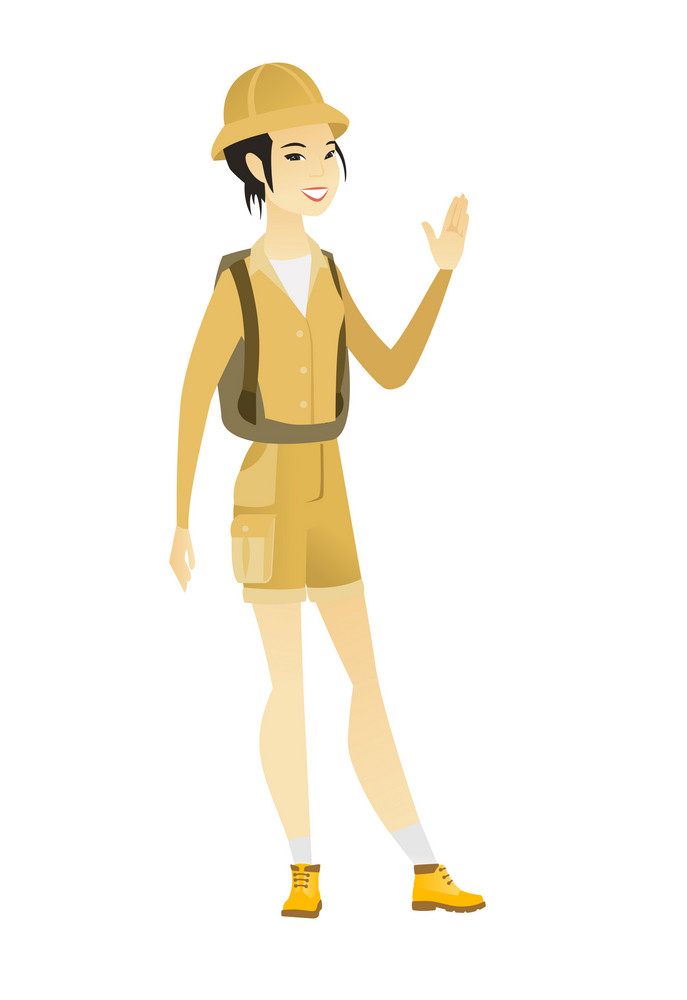 Young asian traveler waving her hand. Full length of female traveler waving her hand. Traveler making greeting gesture - waving hand. Vector flat design illustration isolated on white background.