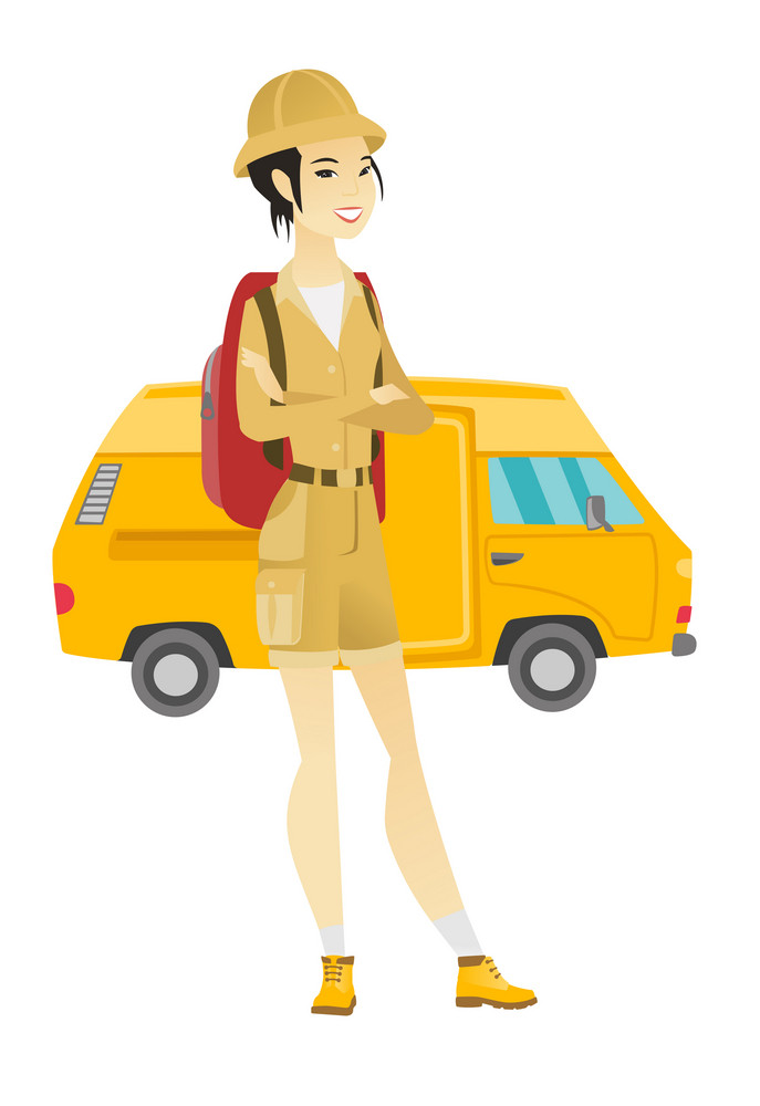 Young asian traveler with backpack standing with folded arms on the background of minibus. Cheerful traveler going to vacation by minibus. Vector flat design illustration isolated on white background.