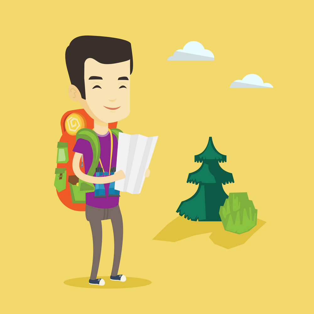 Young asian traveler with binoculars exploring the map. Traveler man with backpack looking at map. Traveler man searching right direction on a map. Vector flat design illustration. Square layout.