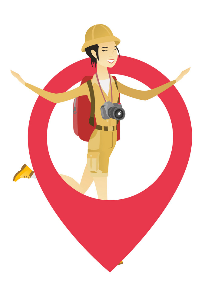 Young asian traveler woman with binoculars jumping through a big map pointer. Full length of smiling traveler woman with huge map pointer. Vector flat design illustration isolated on white background.
