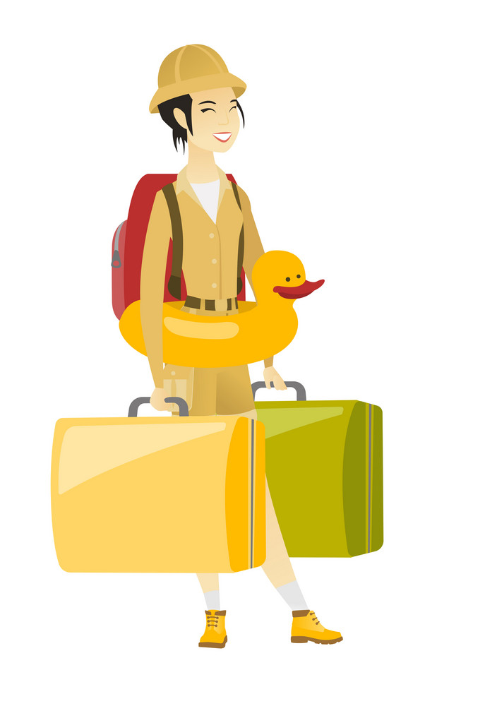 Young asian traveler woman with suitcases in hands and inflatable ring with duck on her waist. Cheerful traveler woman in inflatable ring. Vector flat design illustration isolated on white background.