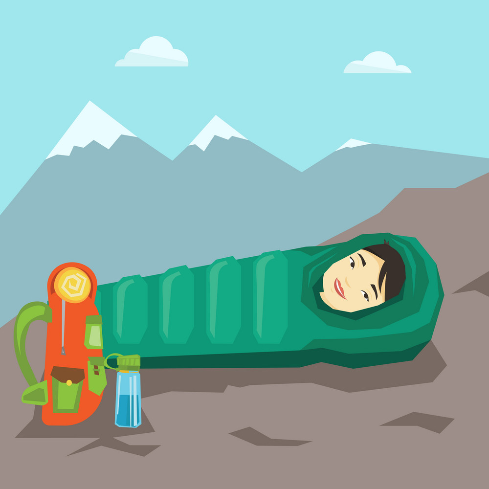 Young asian traveler woman wrapped up in a mummy sleeping bag. Happy smiling traveler woman relaxing in a sleeping bag while camping in the mountains. Vector flat design illustration. Square layout.