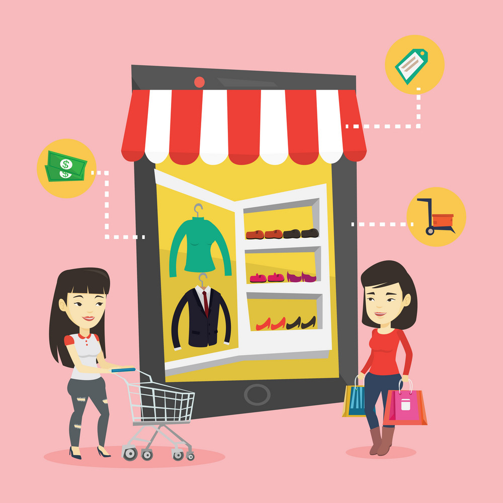Young asian two women doing online shopping. Smiling women using mobile shopping. Happy people walking in store that looks like tablet computer. Vector flat design illustration. Square layout.