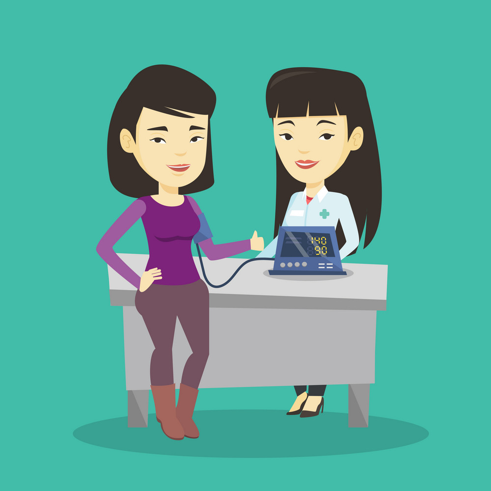 Young asian woman checking blood pressure with digital blood pressure meter. Happy woman giving thumb up while doctor measuring her blood pressure. Vector flat design illustration. Square layout.