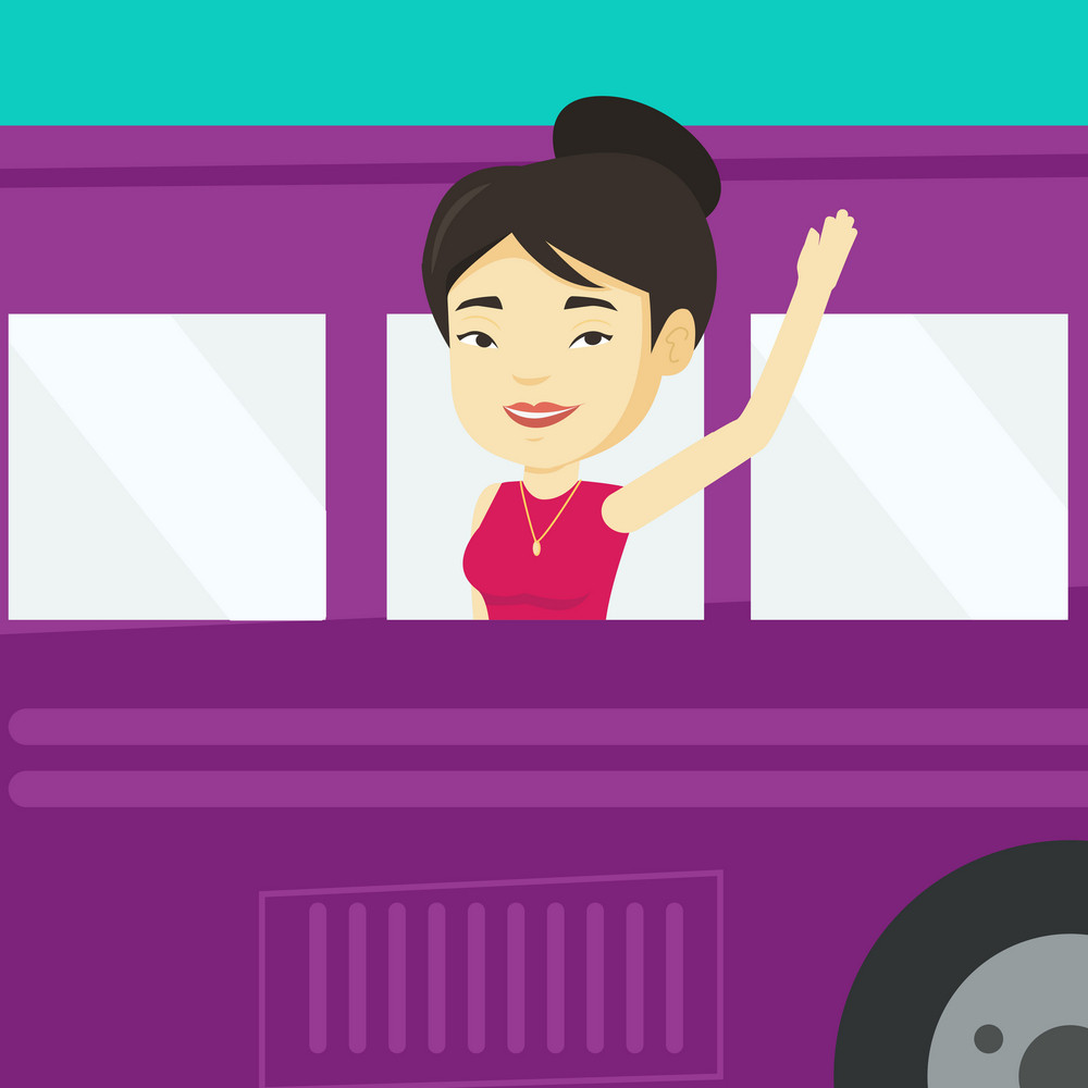 Young asian woman enjoying her trip by bus. Happy passenger waving hand from bus window. Smiling tourist peeking out of bus window and waving hand. Vector flat design illustration. Square layout.