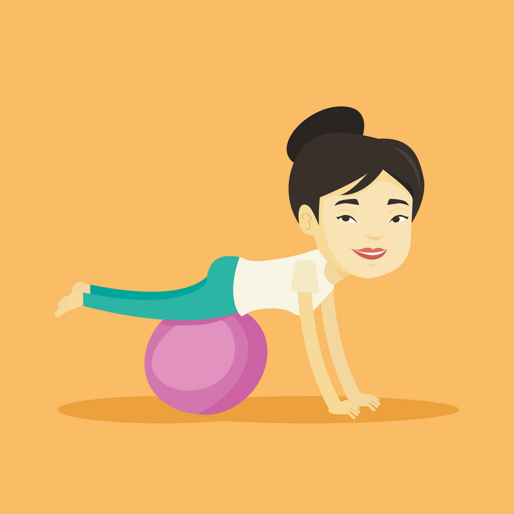 Young asian woman exercising with fitball. Smiling woman training triceps and biceps while doing push ups on fitball. Woman doing exercises on fitball. Vector flat design illustration. Square layout.