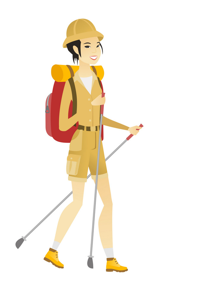 Young asian woman hiker walking with trekking sticks. Woman hiker holding trekking sticks. Woman backpacker hiking with trekking sticks. Vector flat design illustration isolated on white background.