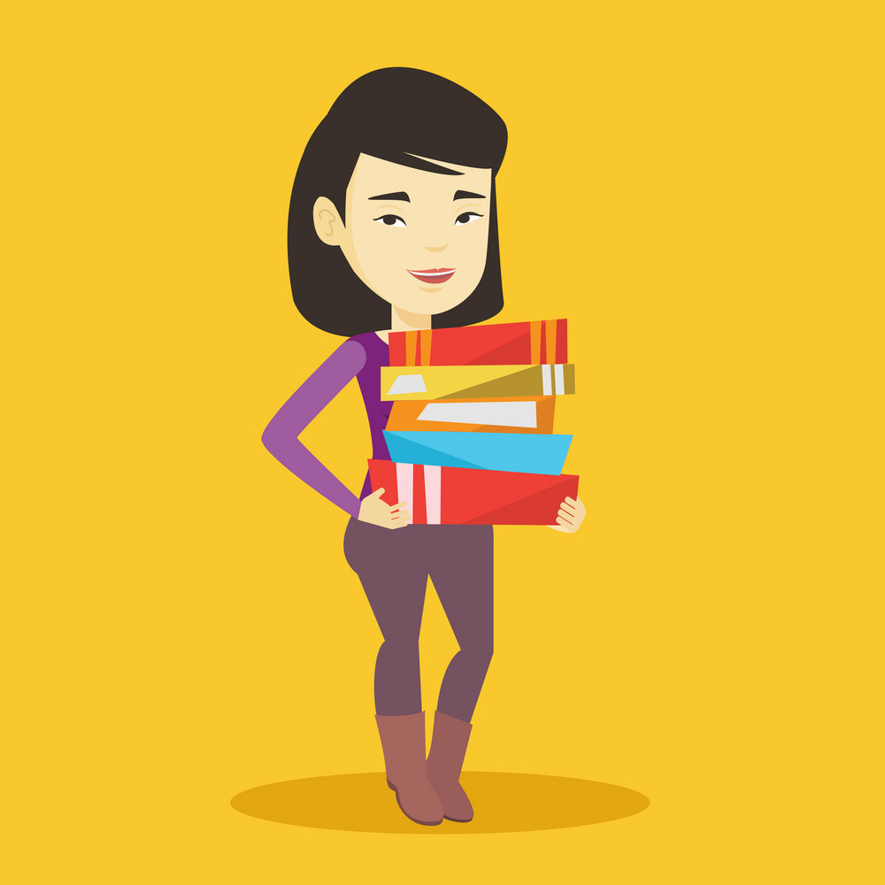 Young asian woman holding a pile of educational books in hands. Smiling student carrying huge stack of books. Student preparing for exam with books. Vector flat design illustration. Square layout.