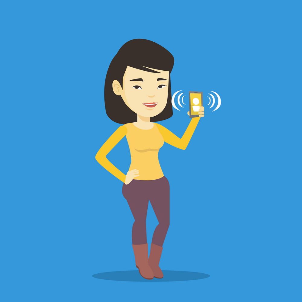 Young asian woman holding ringing mobile phone. Woman answering a phone call. Woman standing with ringing phone in hand. Vector flat design illustration isolated on blue background. Square layout.