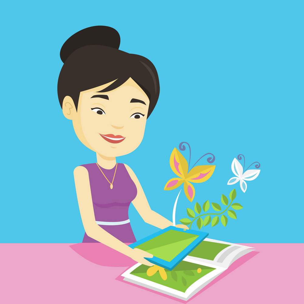 Young asian woman holding tablet computer above the book. Woman looking at butterflies flying out from digital tablet. Concept of agmented reality. Vector flat design illustration. Square layout.