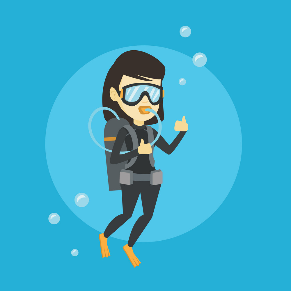 Young asian woman in diving suit snorkeling and giving thumb up. Woman diving with scuba and showing ok sign. Woman enjoying the diving. Vector flat design illustration. Square layout.
