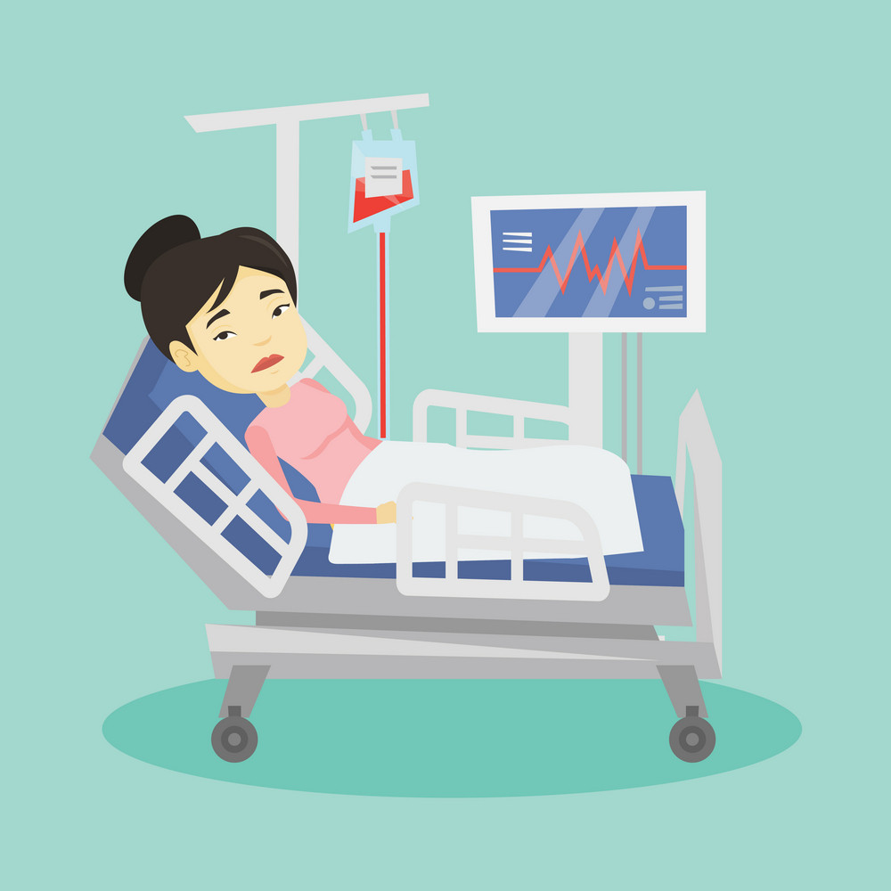 Young asian woman lying in bed in hospital. Patient resting in hospital bed with heart rate monitor. Patient during blood transfusion procedure. Vector flat design illustration. Square layout.