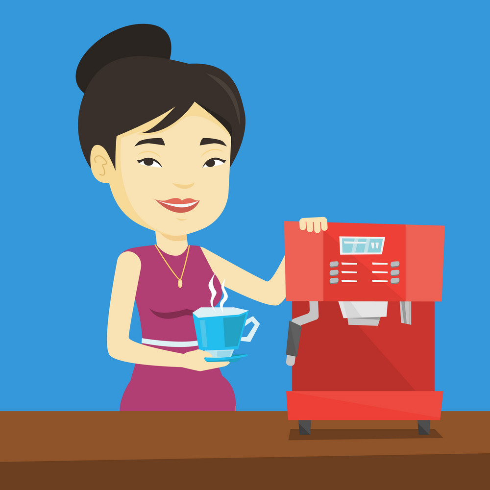 Young asian woman making coffee with a coffee-machine. Woman holding cup of hot flavoured coffee in hand. Smiling woman standing beside a coffee machine. Vector flat design illustration. Square layout